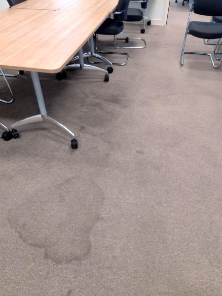 Picture of boardroom carpet before we had restored it.